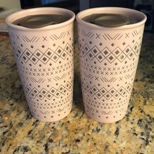 Other - Two NWOT stoneware pink mugs